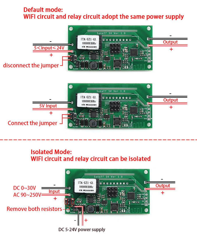 Sonoff SV Safe Voltage WiFi Wireless ONOFF Switch Smart Home DIY Module 5-24V Control AC DC Power work with Alexa Nest Ewelink-4