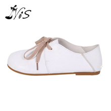 NIS Spring Literary & Artistic Style Lace-up Female Flats Footwear PU Leather Round Toe Retro Women Shoes Casual White Shoes