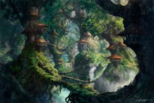 Home decoration fantasy art wizard forest trees artwork digital art Silk Fabric Poster Print 132FJ