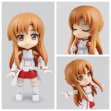 Cu-poche Japanese Action Figures Q-Version Asuna From Sword Art Online Anime Clay Collection Dolls can Change Face 12CM BDFG6215