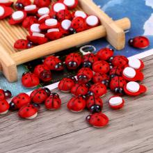 % 100pcs/Bag  Stickers Wood Ladybug Ladybird Sticker Adhesive Back Indoor Plant Fridge Wall Sticker Home Decoration Accessories