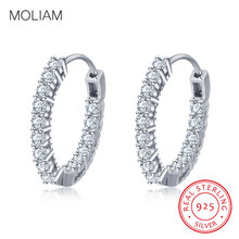 MOLIAM Real 925 Sterling Silver Hoop Earrings For Women Cubic Zirconia Stone Earring Fashion Wedding Jewelry Gift MLDYF147