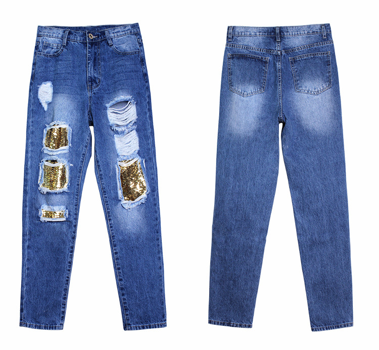 2018 Casual European Station Europe and the United States Style BF Wind Women Sequin Straight Hole Large jeans New Loose pants (12)