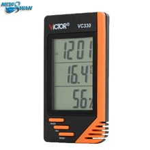 Thermometer Hygrometer Wall Desk Digital LCD VC330 Date Calendar Alarm Clock BS88