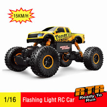 1:16 4WD 2.4Ghz Electric RC Cars Built with LED Headlights Off-road Remote Control Car RTR RC Buggy RC Monster Truck Kids Toy(China)