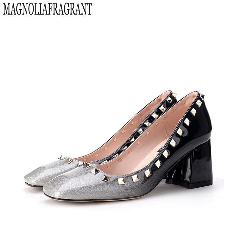 2017 autumn Gradient color Womens shoes Pumps Single shoes princess shoes Square head thick with waterproof rivets high heels <br>