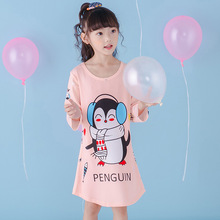 Autumn Kids Sleeping Dress Toddler Girls Nightgown long sleeved Cartoon Children Princess Nightdress Clothing child night skirt(China)