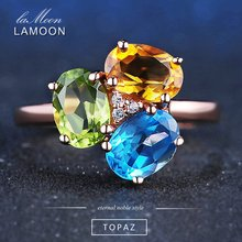 LAMOON 3pcs Oval Citrine Peridot Topaz Rings 925 Sterling Silver Jewelry Rose Gold Wedding Adjustable Ring S925