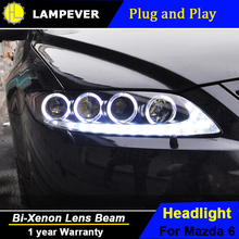 Lampever Styling for Mazda 6 Headlights 2004-2013 Mazda6 LED Headlight Angel Eye DRL Bi Xenon Lens High Low Beam Parking