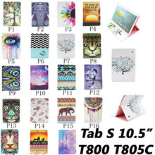 Hot sell Top quality Flower animal cartoon images Card Slot pu leather Case Cover for Samsung Galaxy Tab S 10.5 T800 T805C case