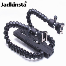 Jadkinsta Flexible Dual Arm Camera Flash Bracket Holder Two Hot Shoe Mounts Photography Flash Holders Macro Shooting Accessories(China)