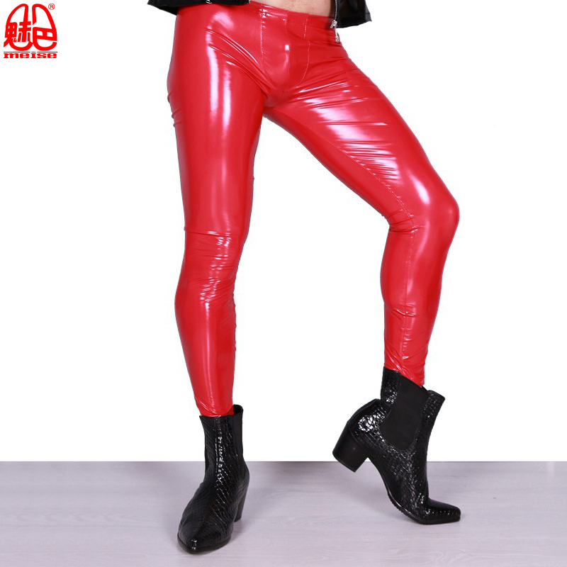 Sexy-High-Elastic-Blue-PVC-Shiny-Pencil-Pants-Tight-Faux-Leather-Fashion-Glossy-Punk-Pencil-Pants