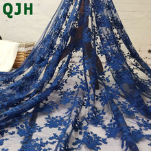 High Quality 1yard/lot Net Lace French Voile Guipure tulle mesh Lace Fabric For dress Free Shipping black white pink yellow blue