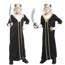 2017 Kids Boys Black Arab Prince Cosplay Costume Robe Clothes Carnival Halloween Fancy Dress Party Decoration