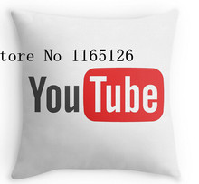 Hot Pillow cases YouTube on white two sides printing Square Zippered Pillowcase free shipping(China)