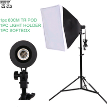 free shipping tracking number Photography  SoftBox Lighting Kit 50x70cm Softbox  80cm Light Stand Photo Studio Accessories Set