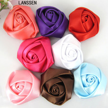 12Pcs Satin Rose Flowers Handmade Stain Rolled Rosettes Appliques For Craft Wedding Hair Accessories 3.5cm