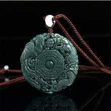 Natural Green Hetian Jades Pendant 3D Carved Round BaGua With Dragon Phoenix Pendants Women Men's Amulet Nephrite Jades Jewelry