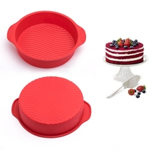 Kitchen Handle Cake Mould 9 inch Round Shape Bottom Ripple Silicone Decorative DIY Cake Tool For Household Baking Accessories(China)