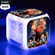 Wreck-It Ralph Alarm Clock Led Light 7 Color Change Orologio Digitale Watch Klok Projection Clock Square Digital Vintage Watch(China)