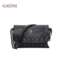 Garni Vintage Fashion Skull Women Messenger Bags Rivet Envelope Mini Clutch Bags Envelope Crossbody Punk Shoulder Bag Sac A Main(China)