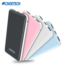 CHOETECH 10000mAh Dual USB Power Bank Portable Mobile Phone Charger Powerbank for Samsung for iPhone External Battery for Xiaomi