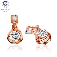 HanCheng New Fashion Luxury Copper Round Cubic Zirconia Gem Stone Golden Zircon Clip Earrings For Women Jewelry brincos bijoux