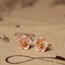 Flyleaf 925 Sterling Silver Shell Carvings Pink Peach Flowers Stud Earrings For Women Elegant Lady Gift Sterling-silver-jewelry(China)