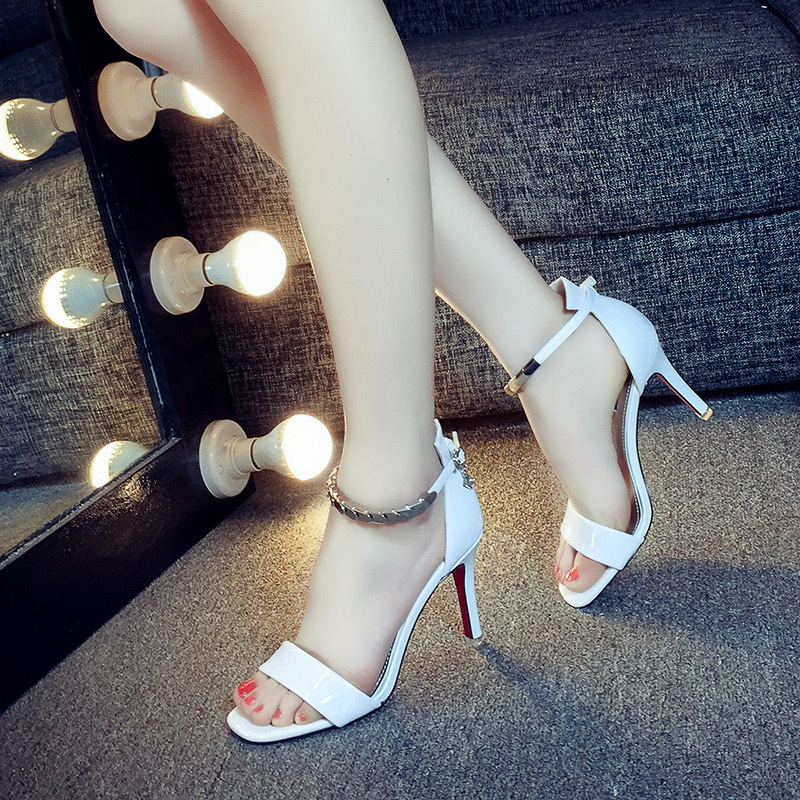 2017 Summer New Women Sexy Red Bottom Thin High Heel Open Toe Sandals Designer Ladies Elegant Evening Ankle Strap Heels Shoes<br><br>Aliexpress