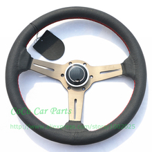 14 Inch Auto Steering Wheel Suede Leather 350mm Racing Car Steering Wheel Titanium Arm(China)