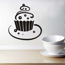 Kitchen Wall Sticker Autocollant Mural Swirl Cupcake Decal Home Decor Restaurant Decoration Wallpaper Wall Art Hollow Out Design(China)
