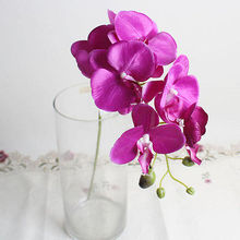 1 x Flower(7 flower heads) Artificial Butterfly Orchid Silk Flower Bouquet Phalaenopsis Wedding Home Decor  Decorative Flowers