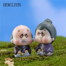 2pc/set Old Granny Fairy Garden Gnome Moss Terrarium Home Desktop Decor Crafts Bonsai Doll House Miniatures Random