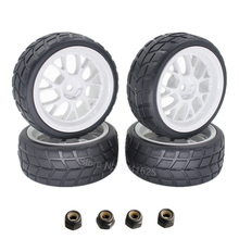 4PCS 26mm RC Toys Car Tires Rubber & Wheel Rims Hex 12mm with Foam Insert For 1/10 On Road Model Parts(China)
