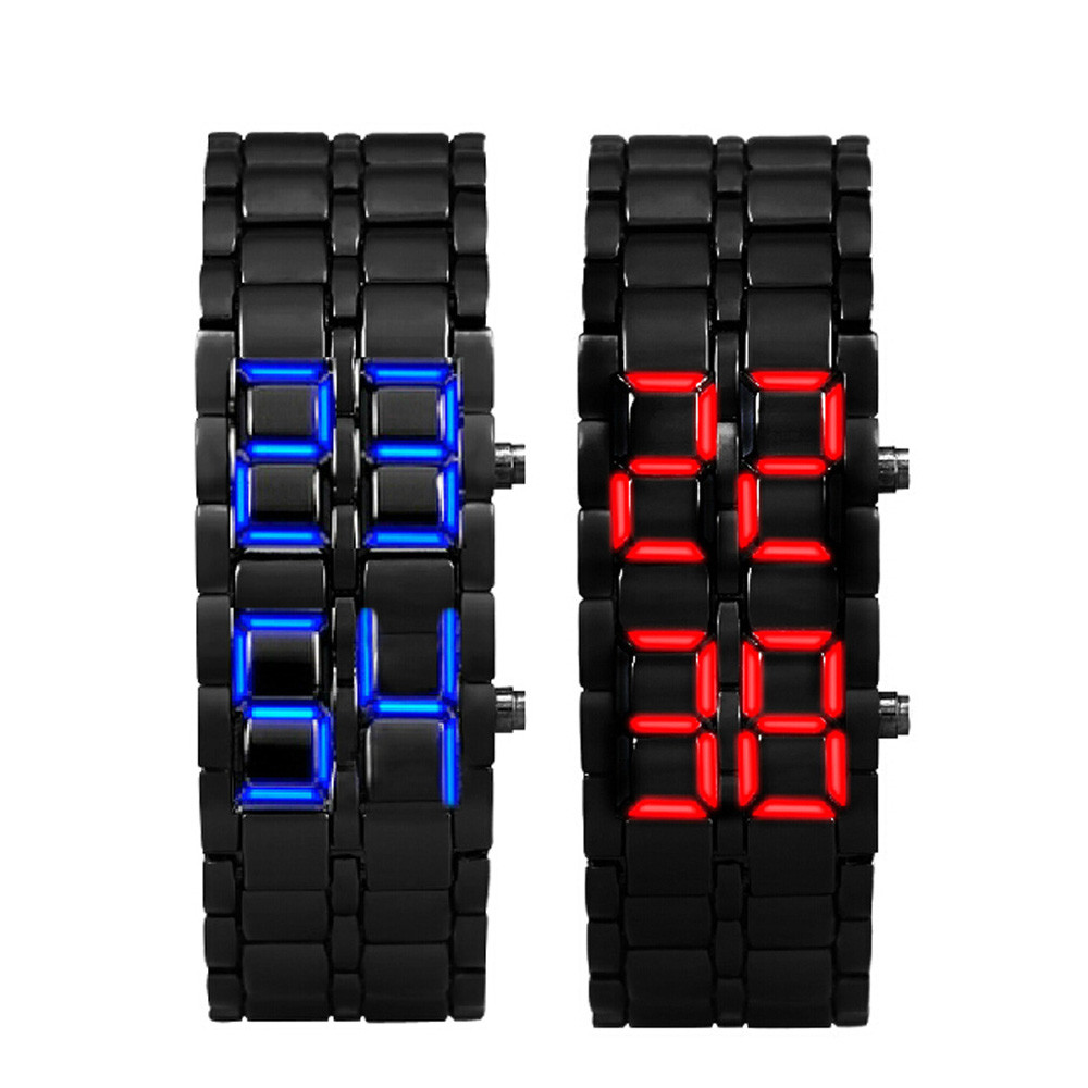 Men Wristwatches 2x Lava Style Iron Samurai Black Bracelet LED Japanese Inspired Watch RED / BLUE Relogio Feminino Sale Feida<br><br>Aliexpress