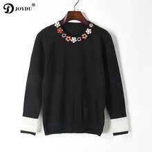 JOYDU Runway Womens Sweaters 2017 O neck Leather Flower Rivet Knitted Pullover Sweater sueter mujer Designer Knit Tops Jumper(China)