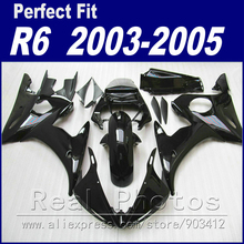 Free custom motorcycle parts for YAMAHA R6 fairing kit 2003 2004 2005 glossy black  Fit YZF R6 fairings 03 04 05