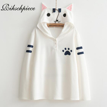 Rihschpiece Harajuku Kawaii Hoodies Women Sweatshirt Cat Cute Top Jumper Clothing Sweatshirts Cartoon Shirt RZF1088