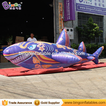 Customized size flying shark, hanging realistic inflatable shark toy, ocean shark toy for ground N stage decor(China)