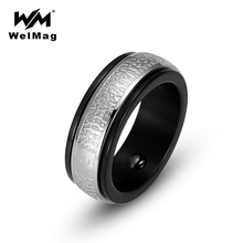 WelMag Men's Magnetic Hematite Health Ring Fashion Wedding Band Ring Jewelry for Women Stainless Steel Double Circle Ring(China)