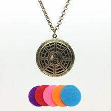 1pc Antiqued Bronze Hollow Orient Trigram Look Alloy Fragrance Essence Oil Aroma Diffuser Locket Trendy Pendant Necklace Jewelry