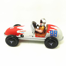 Antique Style Tin Toys Wind Up Toys Robots iron Metal Models for Children/Adult Home Decoration Metal Craft MS508 racing car(China)