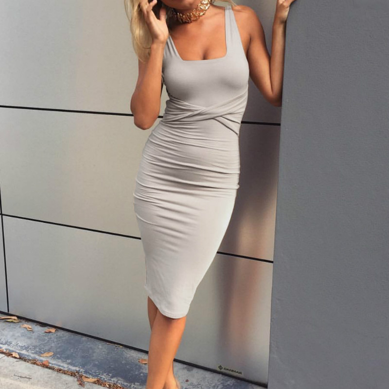 Women Summer Bodycon Dress 2018 Scoop Collar Sleeveless O-neck Sexy Midi Dresses Sheath Clubwear Femme Party Slim Dress GV575 24