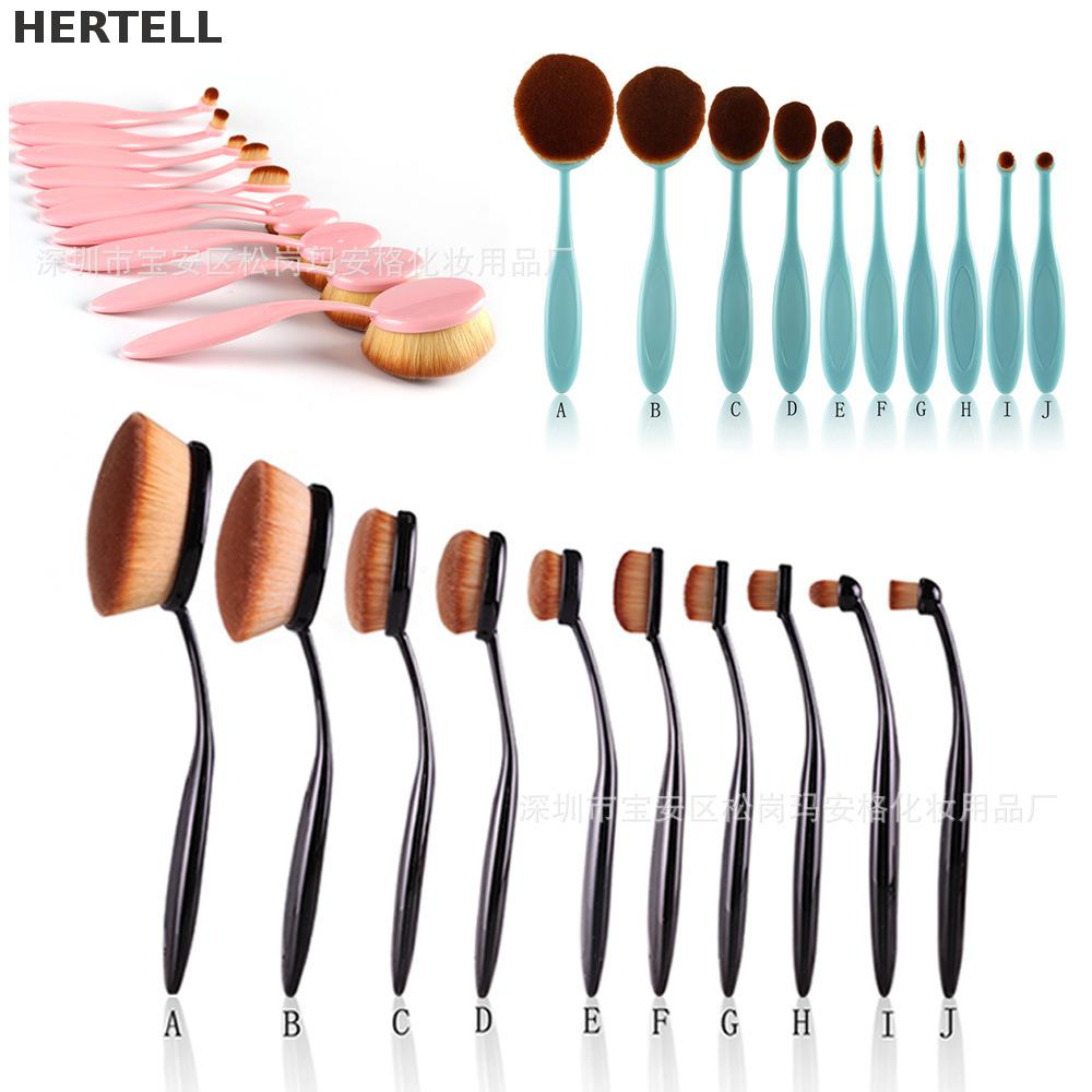 10 Pcs Toothbrush Shapes  Foundation Brushes High Quality Professional Makeup Brushes Make Up tools Brush P0025<br>
