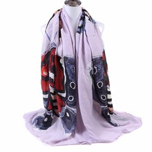 Fashion Classic Scarf Women Rayon Fabric Warm Soft Butterfly Graffiti Printing Pashmina Scarf Big Size Long Scarves Shawl