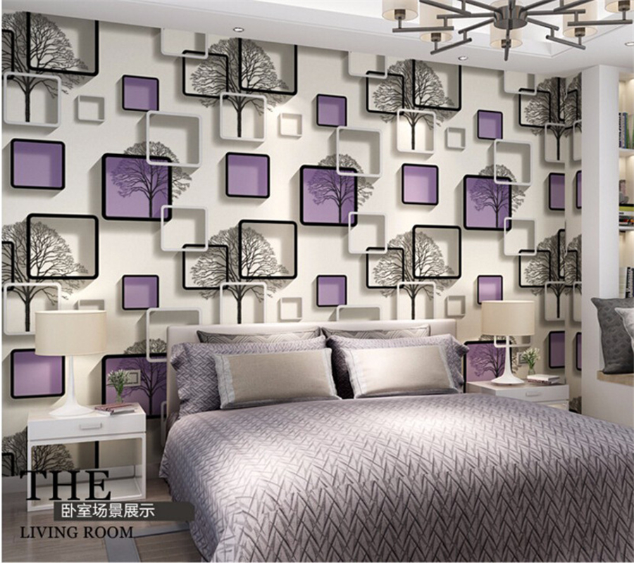 Beibehang 3D square grid wallpaper black and white Branches  wallpaper bedroom living room TV wall  blue purple wallpaper roll<br>