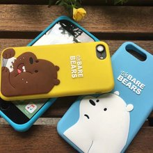 NEW High Quality Luxury 3D Cartoon Animal we bare bear panda whitebear soft silicone phone case for iPhone 5 5s SE 6 Plus 7 Plus