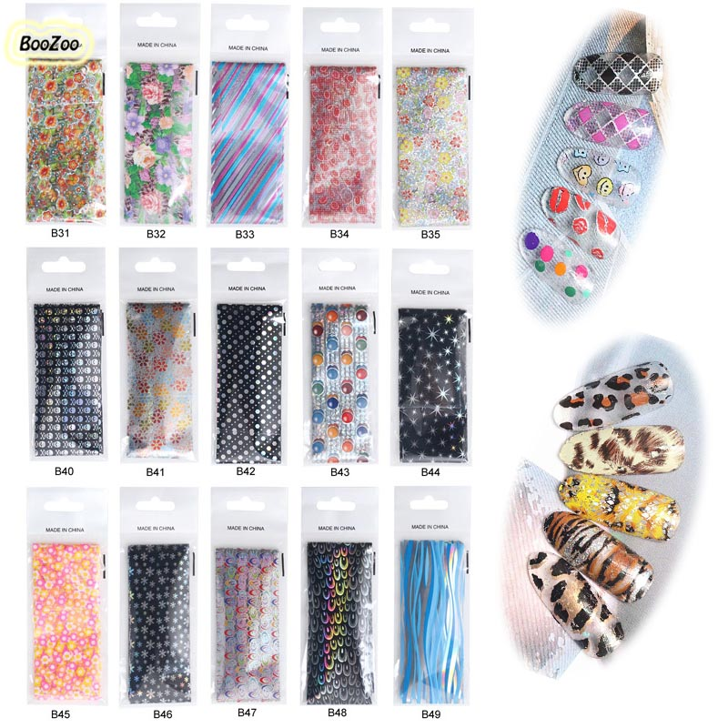 BlueZoo 49 sheets/pack Flower Nail Foils Transfer Sticker Leopard Stickers Nail Art Decals Starry Sky Fashion Tips Decoration<br><br>Aliexpress