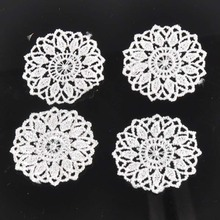 30pcs/lot Round Flower Lace Applique Mesh Trim For Garment Accessories Decoration Sew On Guipure Lace Fabric CP1139(China)