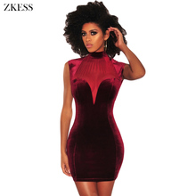 Buy Zkess Women Sheer Mesh Bustier Velvet Dress Turtleneck Sleeveless Sexy Back Cutouts Bodycon Party Night Club Mini Dress LC220302 for $11.46 in AliExpress store